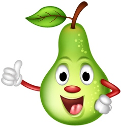Happy green pear thumbs up vector