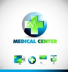 Medical center heartbeat logo icon design vector