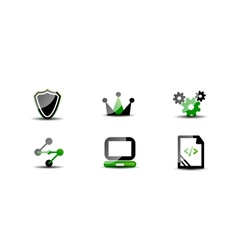 Modern web green  black icon set vector