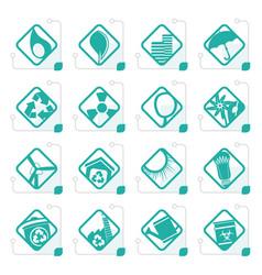 stylized ecology icons vector image