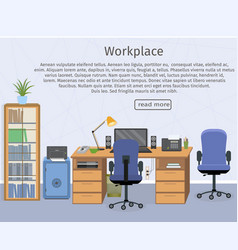 Web design banner of office room workplace vector