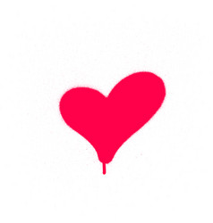 Sprayed graffiti leaking heart in red on white vector