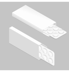 Tablets blister inside package detailed isometric vector