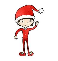 Comic cartoon waving christmas elf vector
