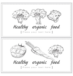 Healthy organic food fresh and tasty horizontal vector