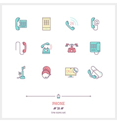Phone line icons set vector