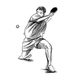 Hand sketch table tennis player vector