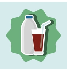 Soda bottle and glass isolated icon design vector