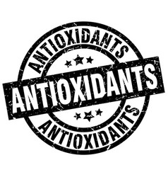 Antioxidants round grunge black stamp vector