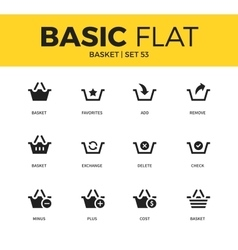 Basic set of basket icons vector