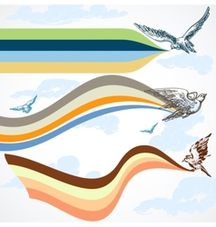 Birds flying colorful banners in the sky vector
