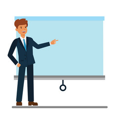 businessman showing presentation board cartoon vector image