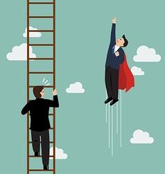 Businessman superhero fly pass businessman vector
