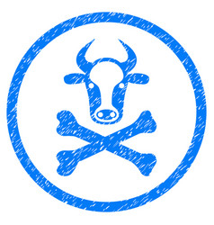 Cow death rounded grainy icon vector