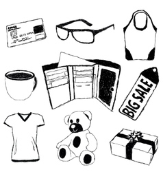 Doodle pictures with shopping theme vector