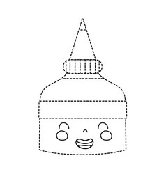 Dotted shape kawaii cute smile glue bottle vector