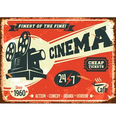 Grunge retro cinema poster vector