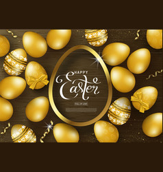 Happy easter background with golden eggs frame vector