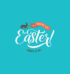 Happy easter calligraphy greeting card modern vector