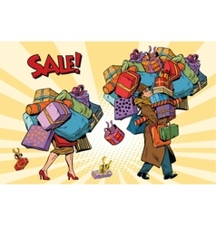Holiday sales a couple man and woman with vector image