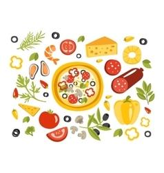 Pizza preparation set of ingredients vector