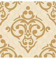 seamless baroque damask luxury golden background vector image