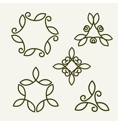 Set of stylish floral monogram vector
