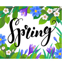 Spring text on floral background vector