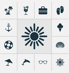 sun icons set collection of conch beach sandals vector image