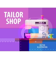 tailor shop logo design template electric vector image