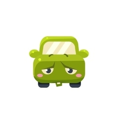 Upset green car emoji vector