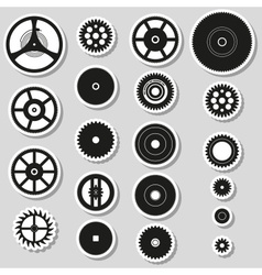 Various cogwheels parts of watch movement stickers vector