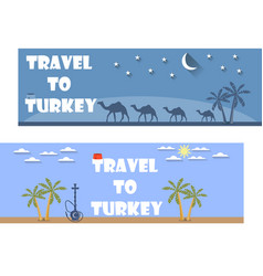 Welcome to turkey banner in a flat style vector
