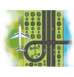 Aerial scene of airplane flying over the land vector