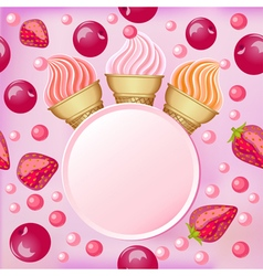 Sweet background with a set of popsicle strawberri vector image