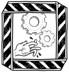 Doodle danger machinery vector