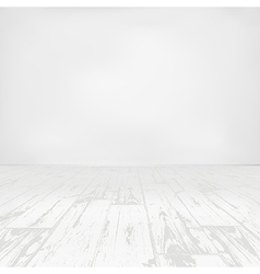 Empty white room with wooden floor vector