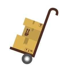 Hand truck with cardboard boxes vector image