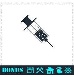 Syringe icon flat vector