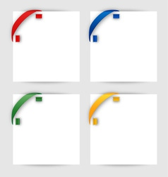 Color corner ribbon on a white paper vector image