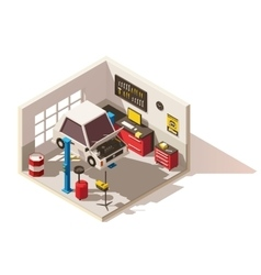 Isometric low poly car service center icon vector