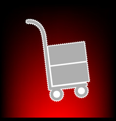 hand truck sign postage stamp or old photo style vector image