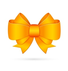 Yellow decorative bow emblem vector
