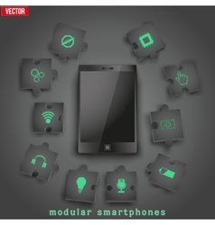 Concept of modular smartphone background vector