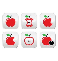 Red apple apple core bitten half buttons vector