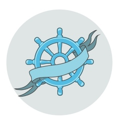 Ship wheel banner isolated whith ribbon vector