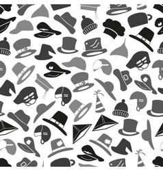 Gray hats icons set seamless pattern eps10 vector