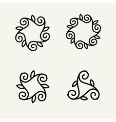 Set of stylish floral monogram vector