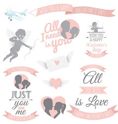 Valentines day greeting card set vector