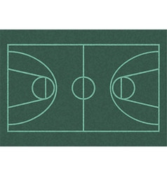 Realistic blackboard drawing outline of basketball vector